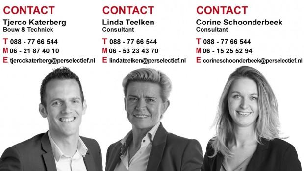 Perselectief vacatures in de Bouw Linda Teelken, Corine Schoonderbeek en Tjerco Katerberg